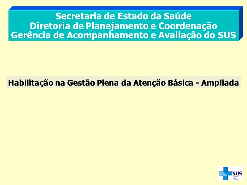 Secretaria de Estado da Saúde Diretoria de Planejamento e Coordenação Gerência de Acompanhamento e Avaliação do SUS Habilitação na Gestão Plena da Ate