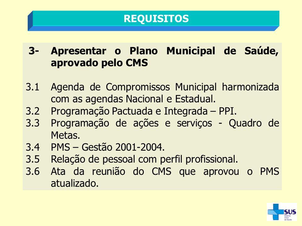 3-Apresentar o Plano Municipal de Saúde, aprovado pelo CMS 3.1Agenda de Compromissos Municipal harmonizada com as agendas Nacional e Estadual. 3.2Prog
