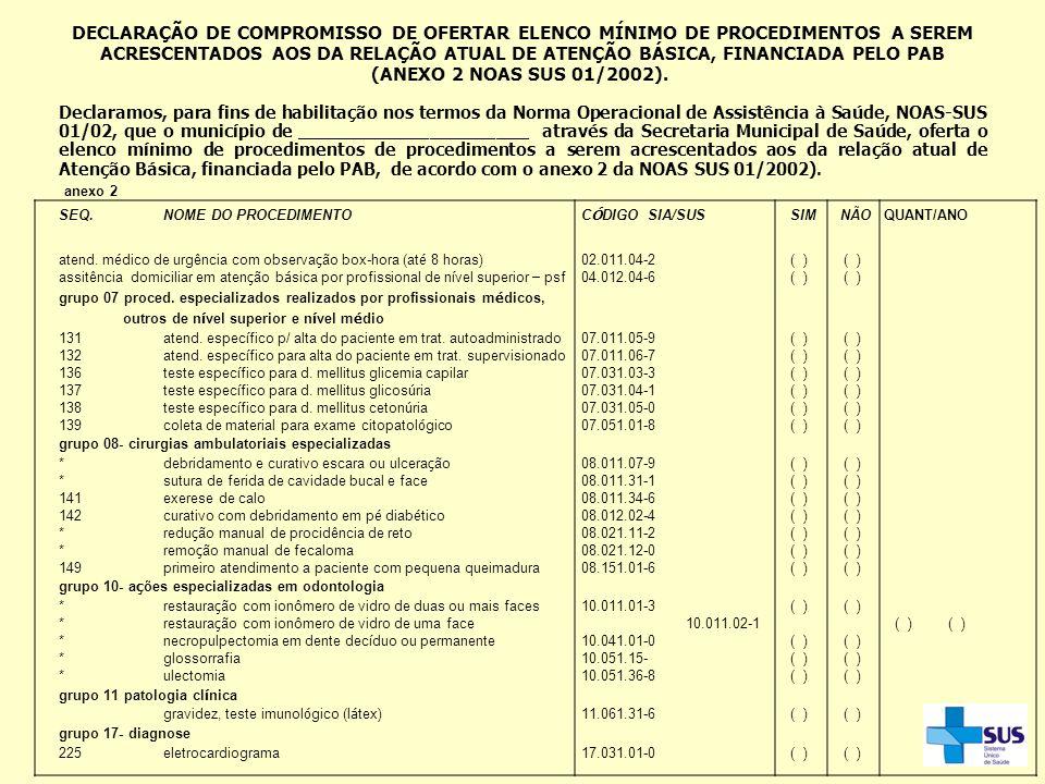DECLARAÇÃO DE COMPROMISSO DE OFERTAR ELENCO MÍNIMO DE PROCEDIMENTOS A SEREM ACRESCENTADOS AOS DA RELAÇÃO ATUAL DE ATENÇÃO BÁSICA, FINANCIADA PELO PAB