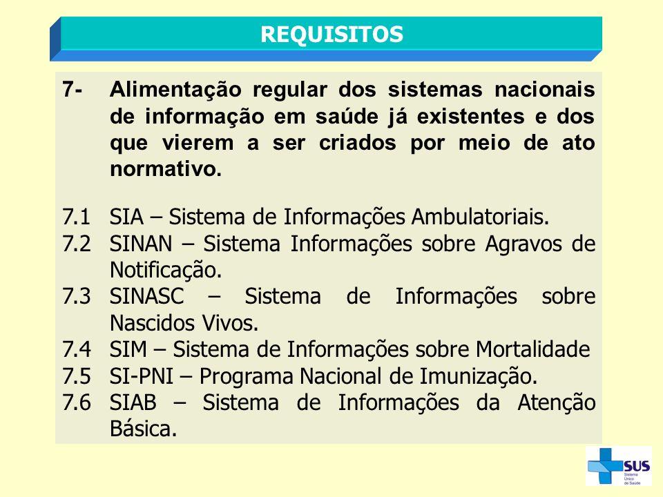 7-Alimentação regular dos sistemas nacionais de informação em saúde já existentes e dos que vierem a ser criados por meio de ato normativo. 7.1SIA – S