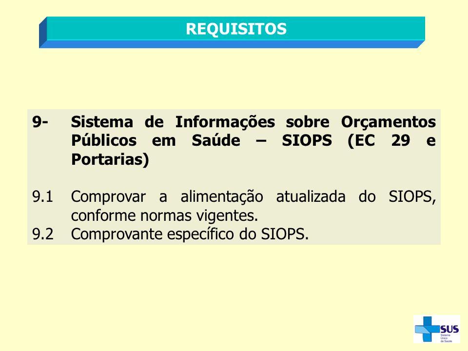 REQUISITOS 9-Sistema de Informações sobre Orçamentos Públicos em Saúde – SIOPS (EC 29 e Portarias) 9.1Comprovar a alimentação atualizada do SIOPS, con