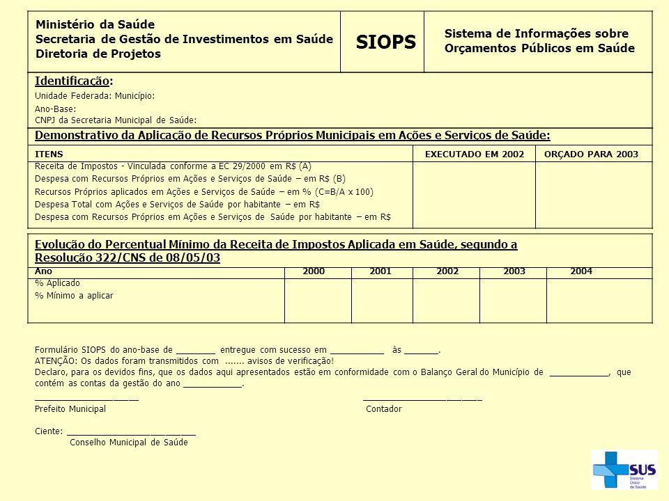 Ministério da Saúde Secretaria de Gestão de Investimentos em Saúde Diretoria de Projetos SIOPS Sistema de Informações sobre Orçamentos Públicos em Saú
