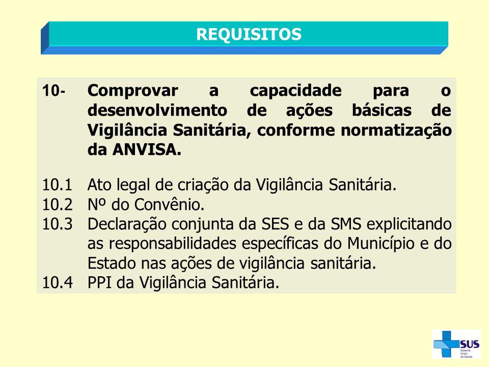 REQUISITOS 10 - Comprovar a capacidade para o desenvolvimento de ações básicas de Vigilância Sanitária, conforme normatização da ANVISA. 10.1Ato legal