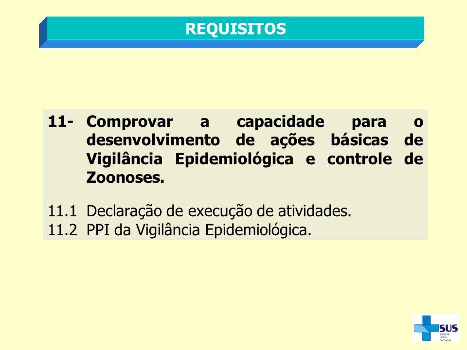 REQUISITOS 11-Comprovar a capacidade para o desenvolvimento de ações básicas de Vigilância Epidemiológica e controle de Zoonoses. 11.1Declaração de ex