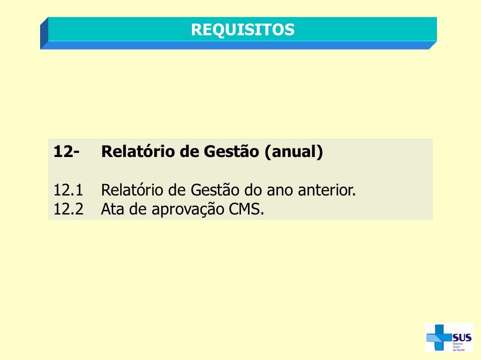 REQUISITOS 12-Relatório de Gestão (anual) 12.1Relatório de Gestão do ano anterior. 12.2Ata de aprovação CMS.
