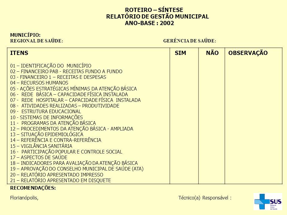 ROTEIRO – SÍNTESE RELATÓRIO DE GESTÃO MUNICIPAL ANO-BASE : 2002 MUNICÍPIO: REGIONAL DE SA Ú DE: GERÊNCIA DE SA Ú DE: ITENS SIM NÃO OBSERVAÇÃO 01 – IDE