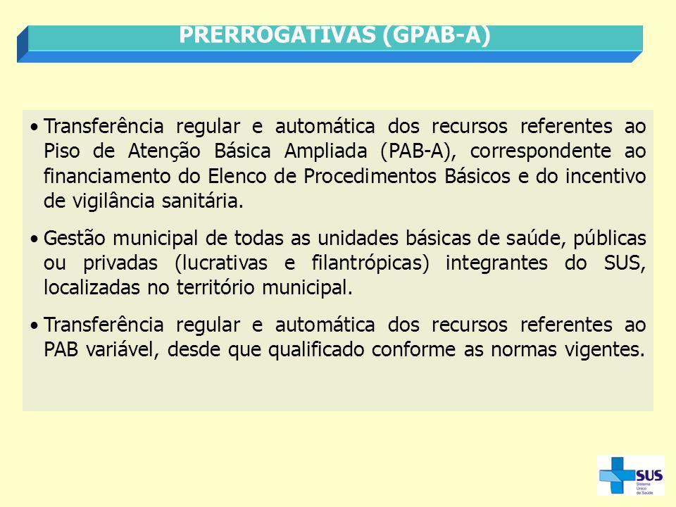 Transferência regular e automática dos recursos referentes ao Piso de Atenção Básica Ampliada (PAB-A), correspondente ao financiamento do Elenco de Pr