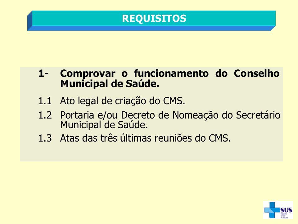 REQUISITOS 1-Comprovar o funcionamento do Conselho Municipal de Saúde. 1.1Ato legal de criação do CMS. 1.2Portaria e/ou Decreto de Nomeação do Secretá