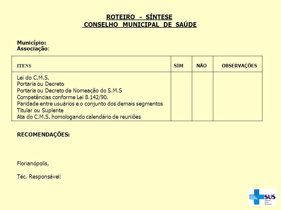 ROTEIRO - SÍNTESE CONSELHO MUNICIPAL DE SAÚDE Município: Associação: ITENS SIM NÃO OBSERVAÇÕES Lei do C.M.S. Portaria ou Decreto Portaria ou Decreto d