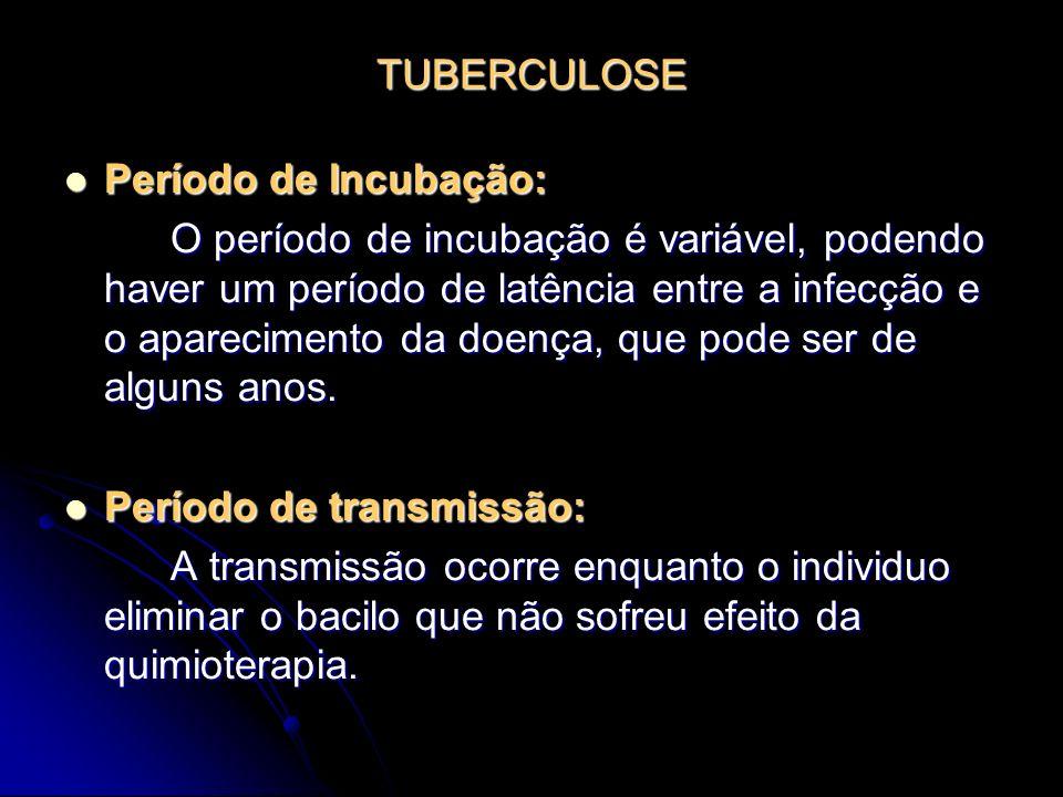 TUBERCULOSE Período de Incubação: Período de Incubação: O período de incubação é variável, podendo haver um período de latência entre a infecção e o a