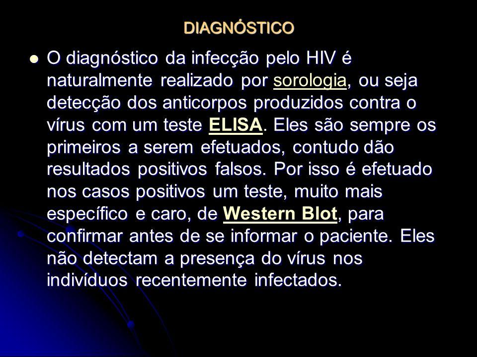 DIAGNÓSTICO O diagnóstico da infecção pelo HIV é naturalmente realizado por, ou seja detecção dos anticorpos produzidos contra o vírus com um teste El