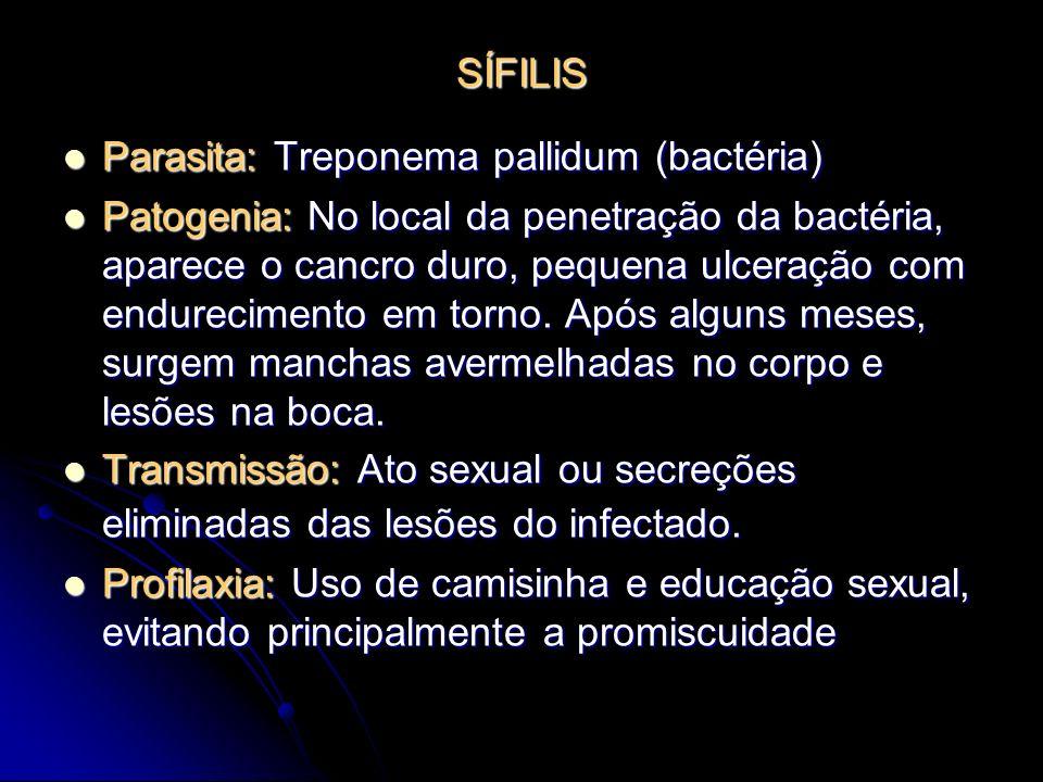 SÍFILIS Parasita: Treponema pallidum (bactéria) Parasita: Treponema pallidum (bactéria) Patogenia: No local da penetração da bactéria, aparece o cancr