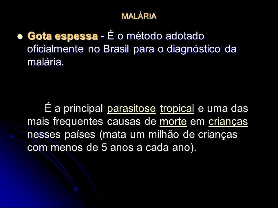 MALÁRIA Gota espessa - É o método adotado oficialmente no Brasil para o diagnóstico da malária. Gota espessa - É o método adotado oficialmente no Bras