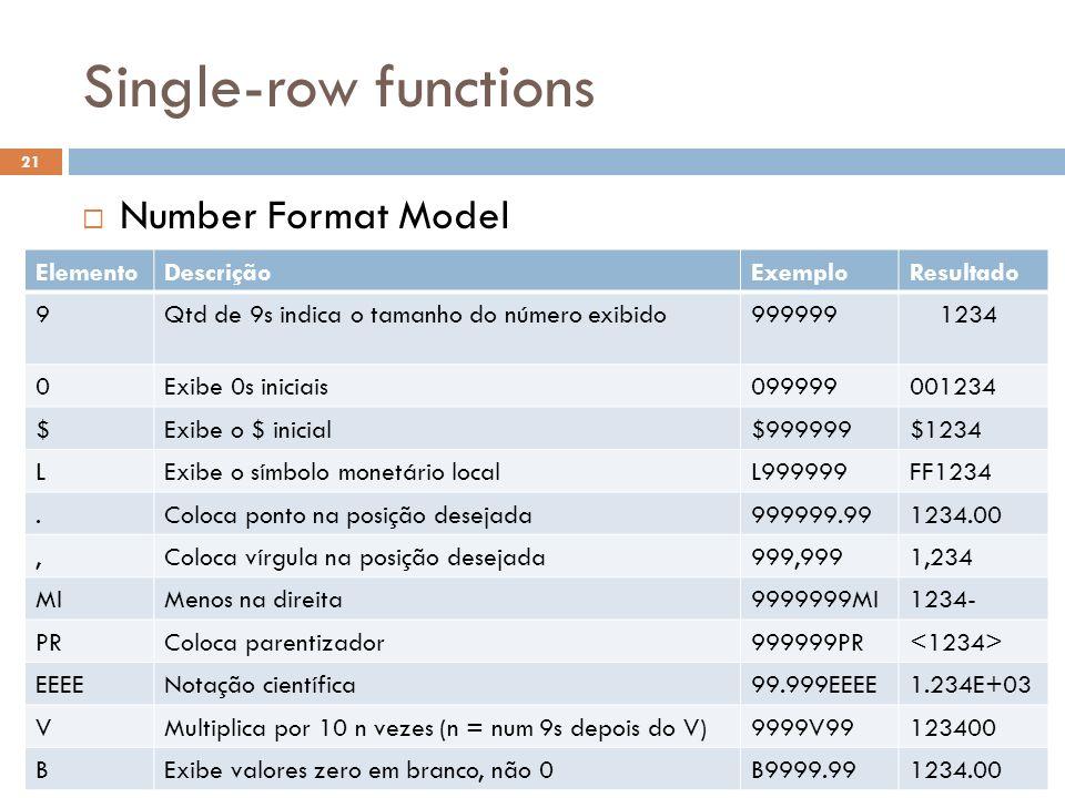 Single-row functions Number Format Model ElementoDescriçãoExemploResultado 9Qtd de 9s indica o tamanho do número exibido999999 1234 0Exibe 0s iniciais