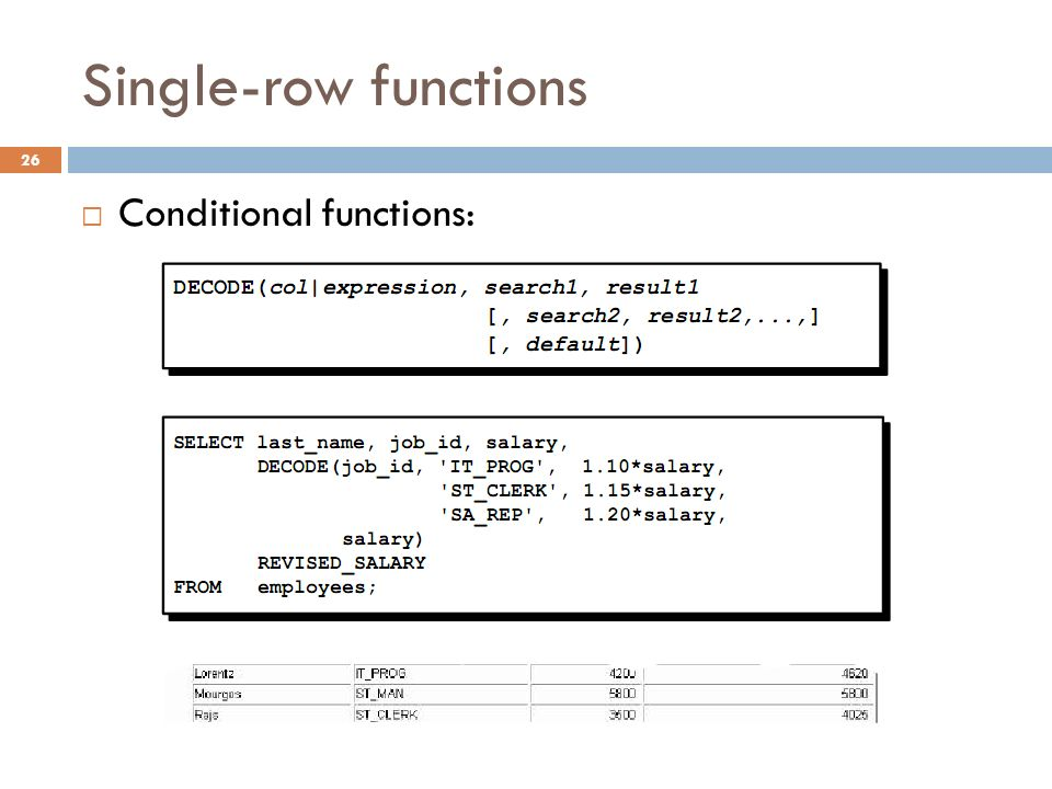 Single-row functions Conditional functions: 26