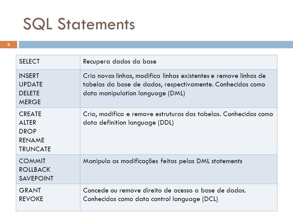 SQL Statements SELECTRecupera dados da base INSERT UPDATE DELETE MERGE Cria novas linhas, modifica linhas existentes e remove linhas de tabelas da bas