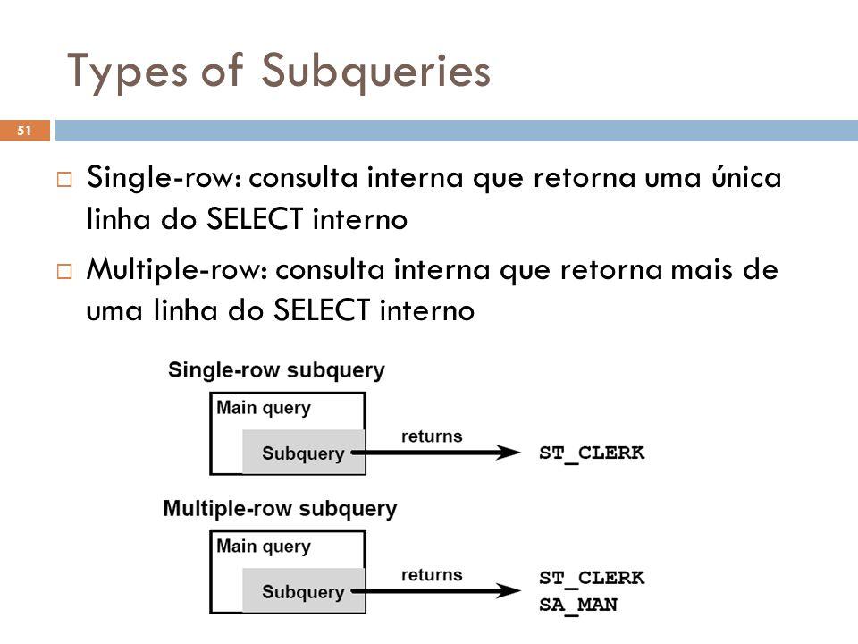 Types of Subqueries Single-row: consulta interna que retorna uma única linha do SELECT interno Multiple-row: consulta interna que retorna mais de uma