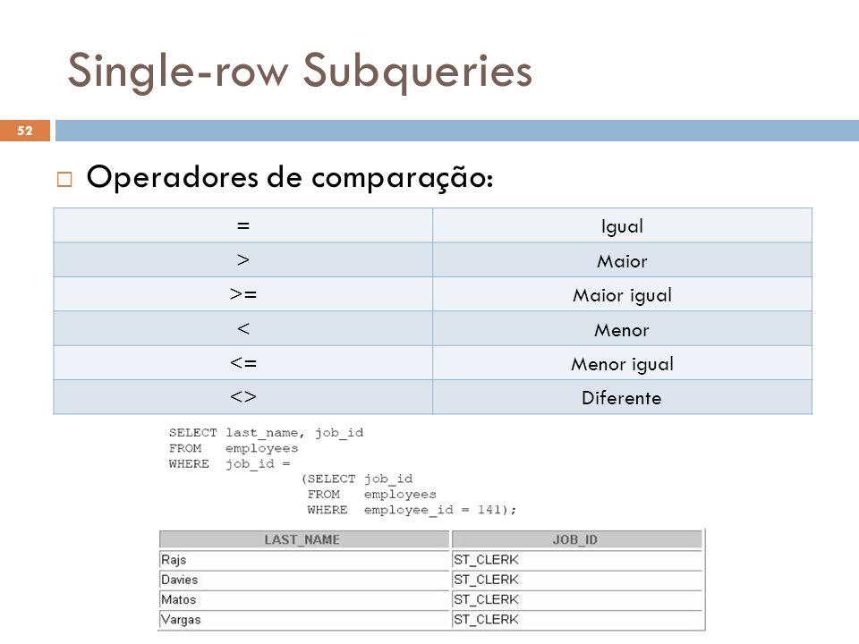 Single-row Subqueries Operadores de comparação: =Igual >Maior >=Maior igual <Menor <=Menor igual <>Diferente 52