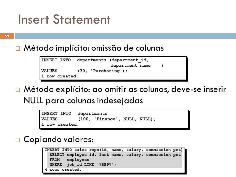 Insert Statement Método implícito: omissão de colunas Método explícito: ao omitir as colunas, deve-se inserir NULL para colunas indesejadas Copiando v