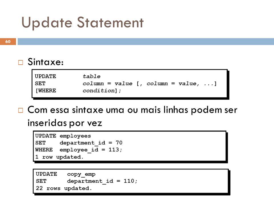 Update Statement Sintaxe: Com essa sintaxe uma ou mais linhas podem ser inseridas por vez 60