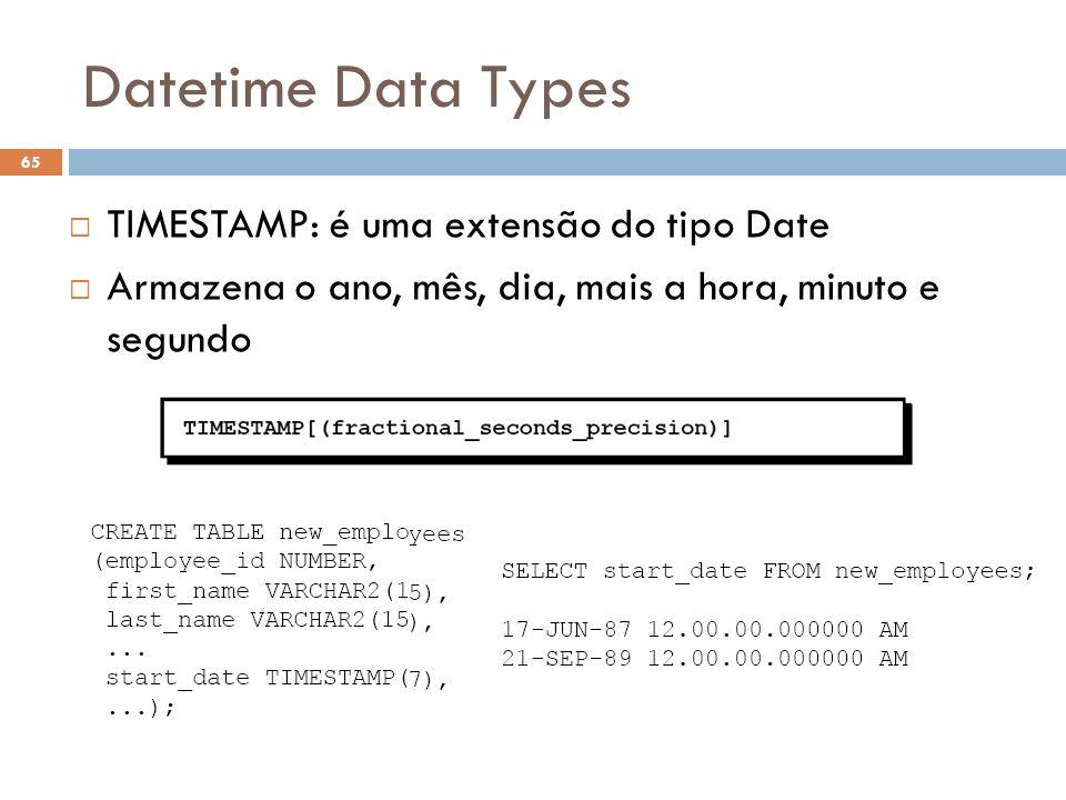 Datetime Data Types 65 TIMESTAMP: é uma extensão do tipo Date Armazena o ano, mês, dia, mais a hora, minuto e segundo