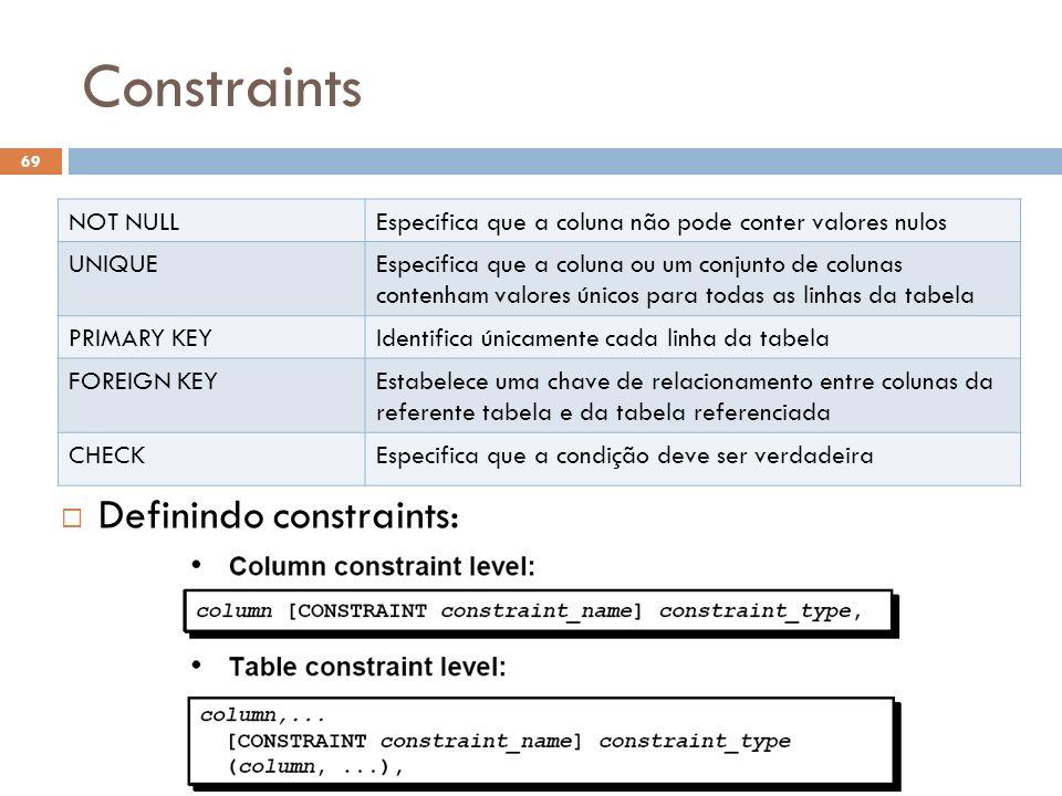 Constraints 69 NOT NULLEspecifica que a coluna não pode conter valores nulos UNIQUEEspecifica que a coluna ou um conjunto de colunas contenham valores