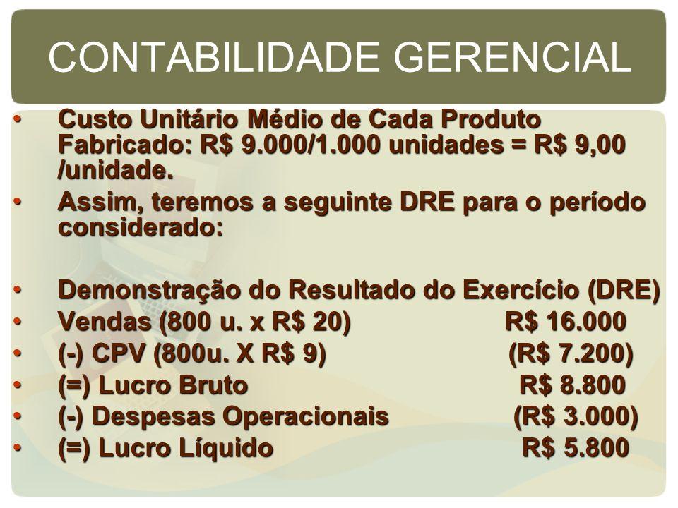 CONTABILIDADE GERENCIAL Custo Unitário Médio de Cada Produto Fabricado: R$ 9.000/1.000 unidades = R$ 9,00 /unidade.Custo Unitário Médio de Cada Produt