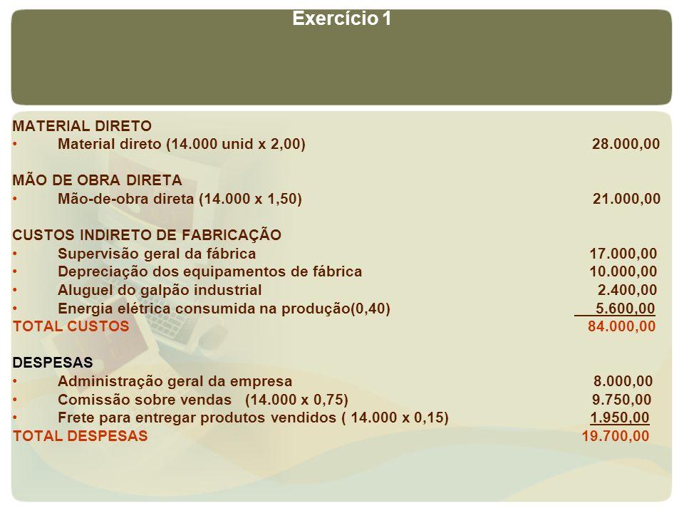 MATERIAL DIRETO Material direto (14.000 unid x 2,00) 28.000,00 MÃO DE OBRA DIRETA Mão-de-obra direta (14.000 x 1,50) 21.000,00 CUSTOS INDIRETO DE FABR