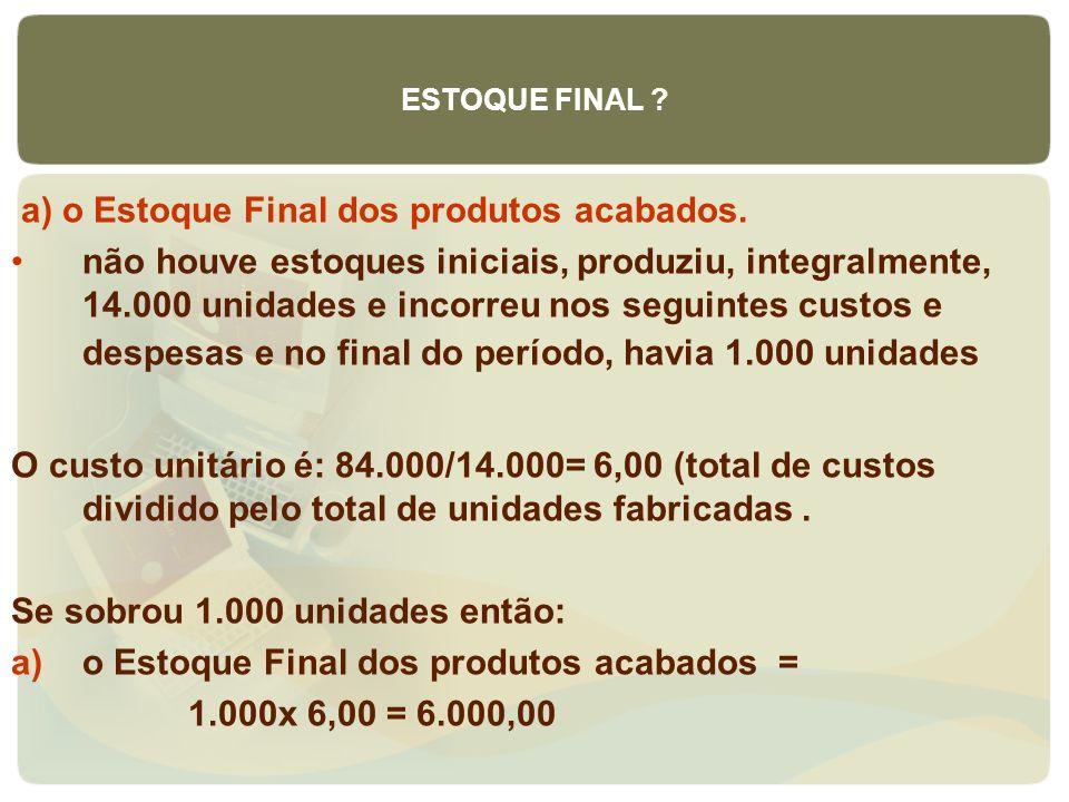 a) o Estoque Final dos produtos acabados. não houve estoques iniciais, produziu, integralmente, 14.000 unidades e incorreu nos seguintes custos e desp