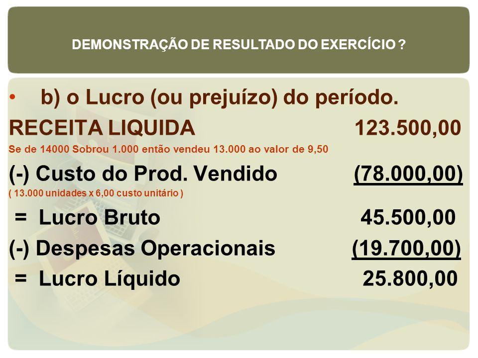 b) o Lucro (ou prejuízo) do período. RECEITA LIQUIDA 123.500,00 Se de 14000 Sobrou 1.000 então vendeu 13.000 ao valor de 9,50 (-) Custo do Prod. Vendi