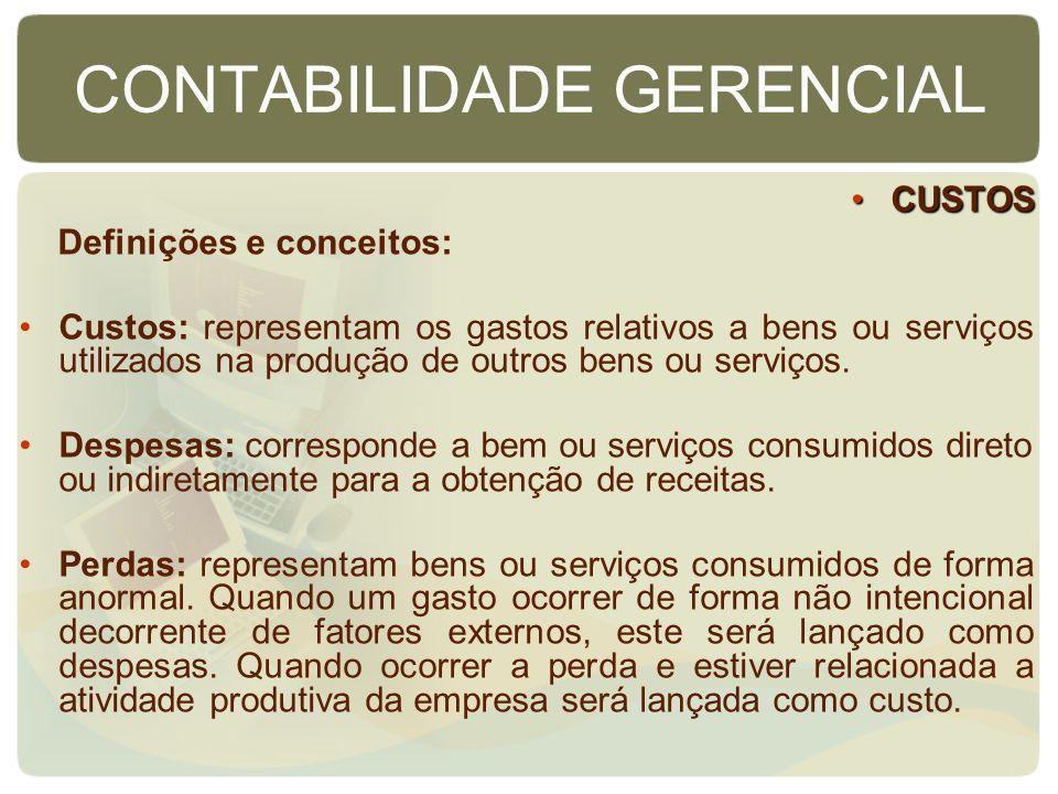 CONTABILIDADE GERENCIAL CUSTOSCUSTOS Definições e conceitos: Custos: representam os gastos relativos a bens ou serviços utilizados na produção de outr
