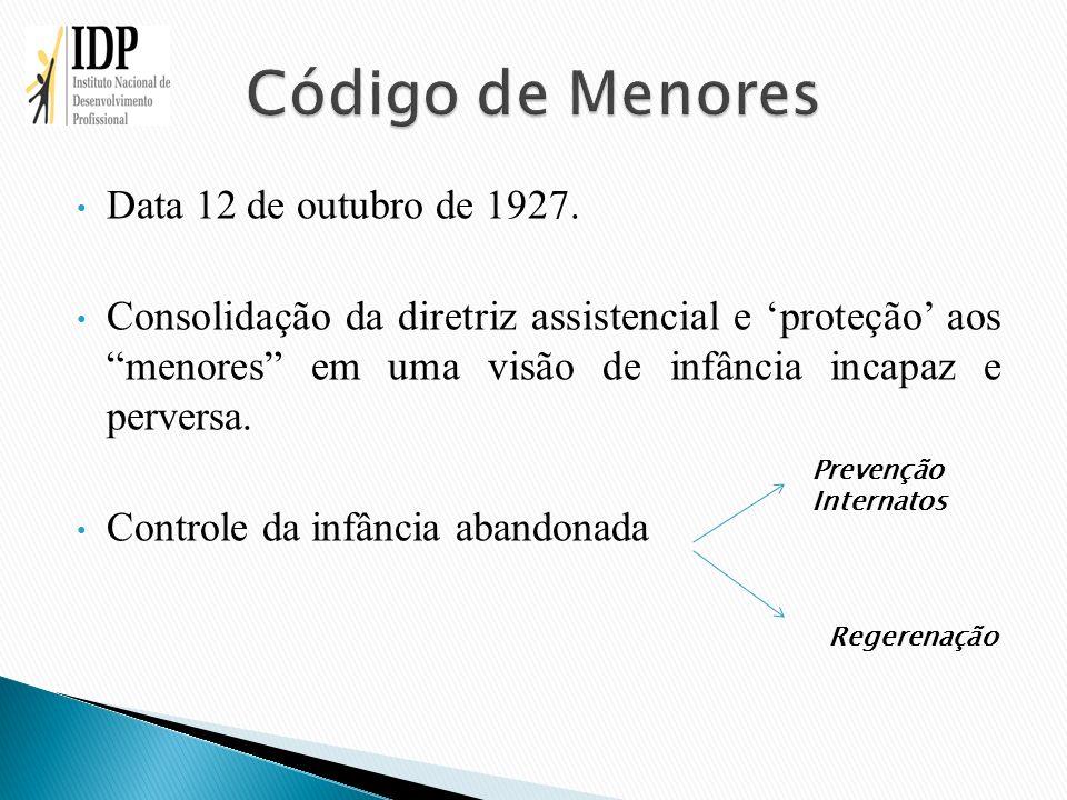 Data 12 de outubro de 1927. Consolidação da diretriz assistencial e proteção aos menores em uma visão de infância incapaz e perversa. Controle da infâ