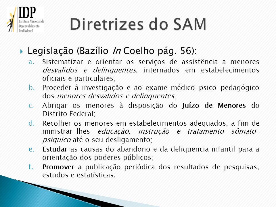 Legislação (Bazílio In Coelho pág. 56): a.Sistematizar e orientar os serviços de assistência a menores desvalidos e delinquentes, internados em estabe