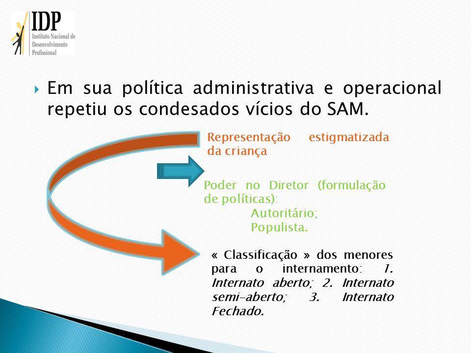 Em sua política administrativa e operacional repetiu os condesados vícios do SAM. Representação estigmatizada da criança Poder no Diretor (formulação