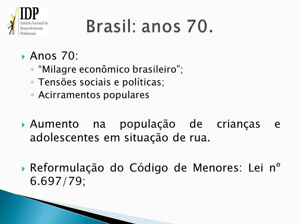 Anos 70: Milagre econômico brasileiro; Tensões sociais e políticas; Acirramentos populares Aumento na população de crianças e adolescentes em situação