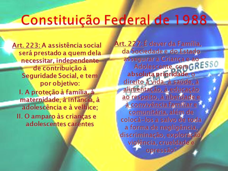 Art. 227: É dever da Família, da Sociedade e do Estado assegurar a Criança e ao Adolescente, com absoluta prioridade, o direito a vida, à saúde, à ali