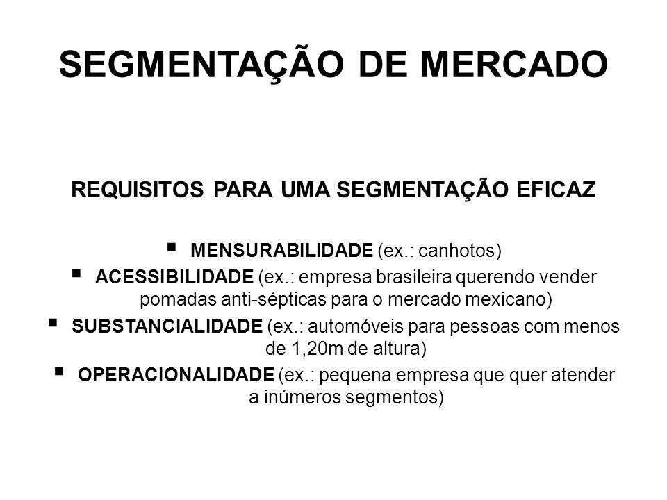 SEGMENTAÇÃO DE MERCADO REQUISITOS PARA UMA SEGMENTAÇÃO EFICAZ MENSURABILIDADE (ex.: canhotos) ACESSIBILIDADE (ex.: empresa brasileira querendo vender