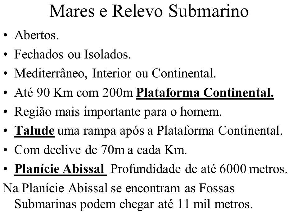 Mares e Relevo Submarino Abertos. Fechados ou Isolados. Mediterrâneo, Interior ou Continental. Até 90 Km com 200m Plataforma Continental. Região mais