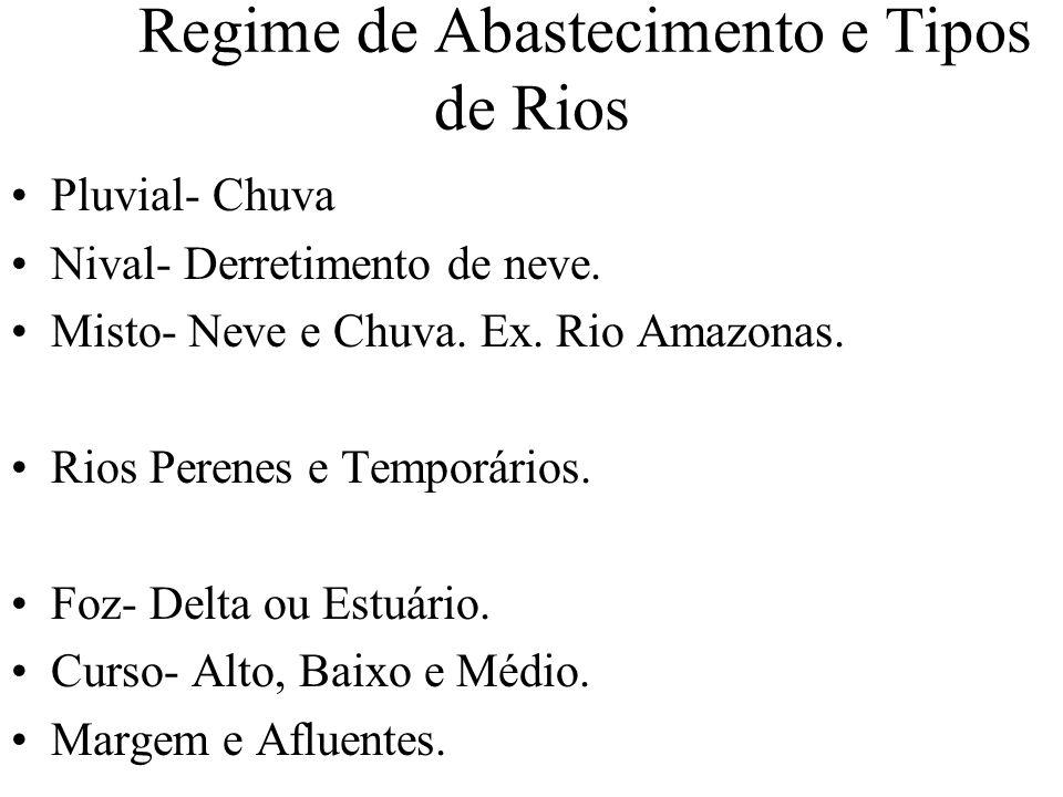 Regime de Abastecimento e Tipos de Rios Pluvial- Chuva Nival- Derretimento de neve. Misto- Neve e Chuva. Ex. Rio Amazonas. Rios Perenes e Temporários.