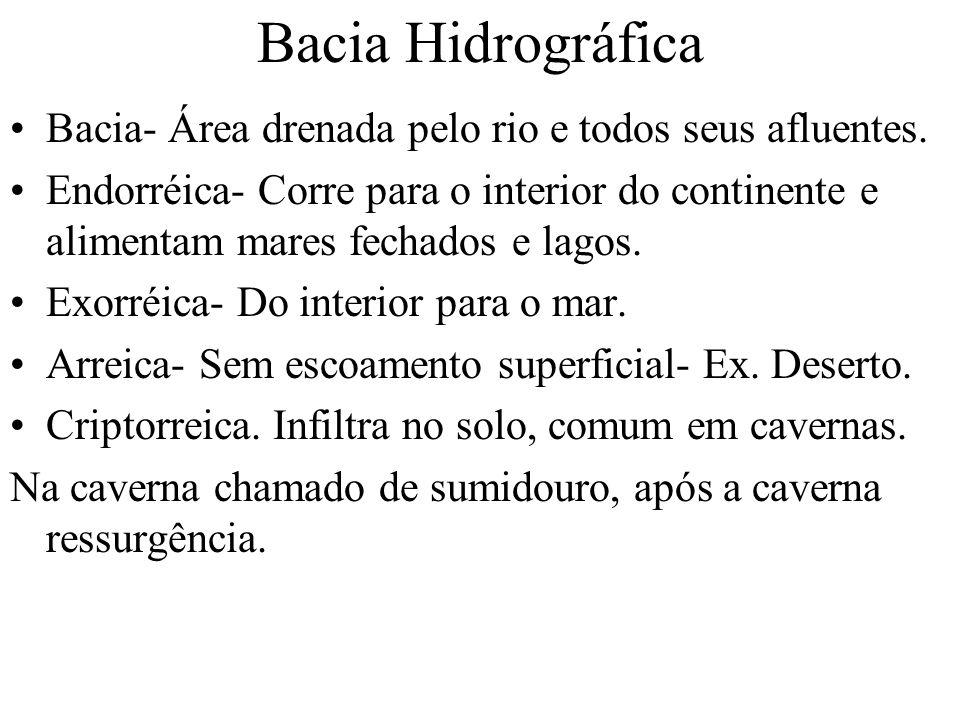Bacia Hidrográfica Bacia- Área drenada pelo rio e todos seus afluentes. Endorréica- Corre para o interior do continente e alimentam mares fechados e l