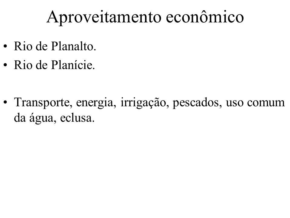 Aproveitamento econômico Rio de Planalto. Rio de Planície. Transporte, energia, irrigação, pescados, uso comum da água, eclusa.