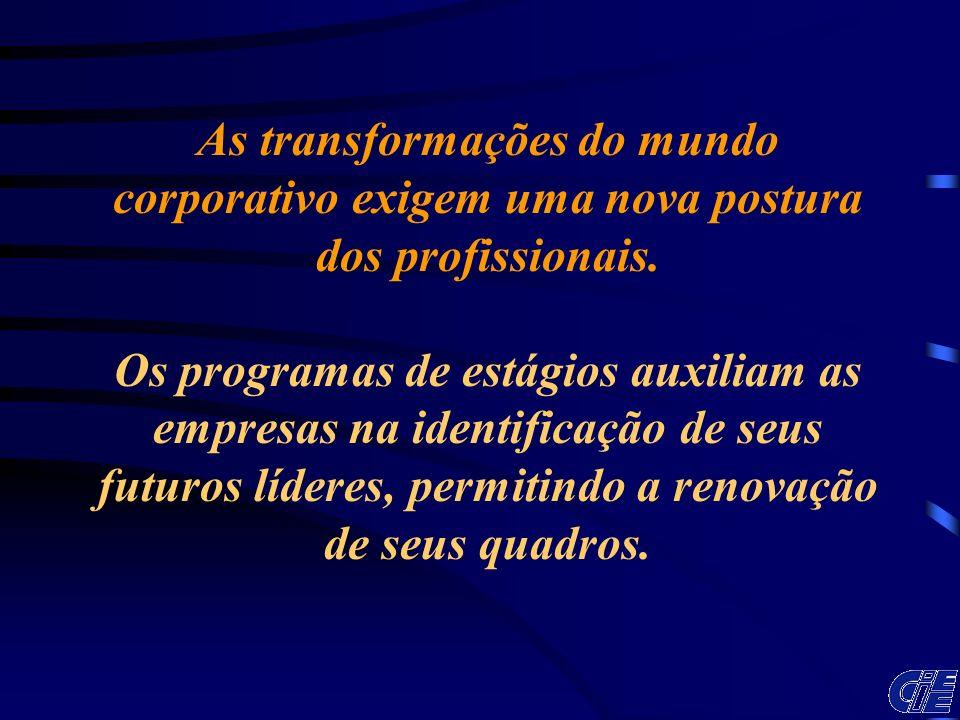 As transformações do mundo corporativo exigem uma nova postura dos profissionais. Os programas de estágios auxiliam as empresas na identificação de se