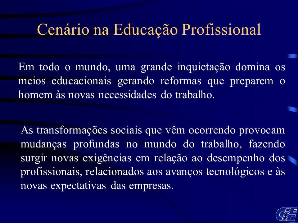 Cenário na Educação Profissional Em todo o mundo, uma grande inquietação domina os meios educacionais gerando reformas que preparem o homem às novas n