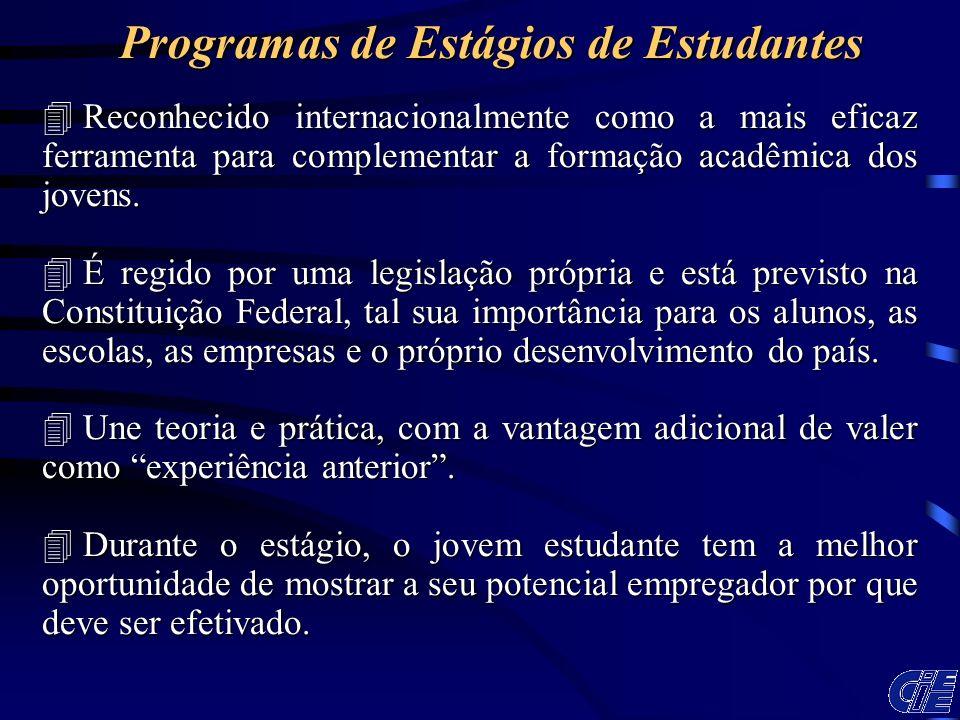 4 Reconhecido internacionalmente como a mais eficaz ferramenta para complementar a formação acadêmica dos jovens. 4 É regido por uma legislação própri