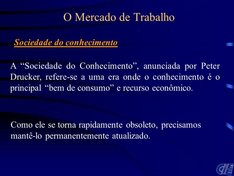 A Sociedade do Conhecimento, anunciada por Peter Drucker, refere-se a uma era onde o conhecimento é o principal bem de consumo e recurso econômico. Co