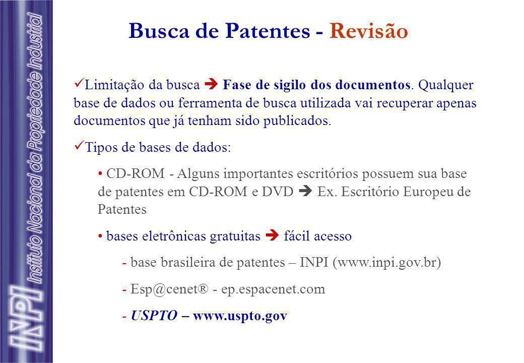 Busca de Patentes - Revisão Limitação da busca Fase de sigilo dos documentos. Qualquer base de dados ou ferramenta de busca utilizada vai recuperar ap