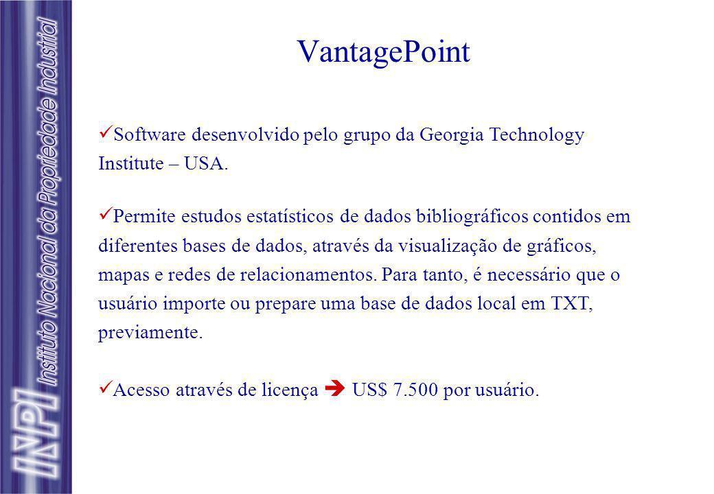 VantagePoint Software desenvolvido pelo grupo da Georgia Technology Institute – USA. Permite estudos estatísticos de dados bibliográficos contidos em