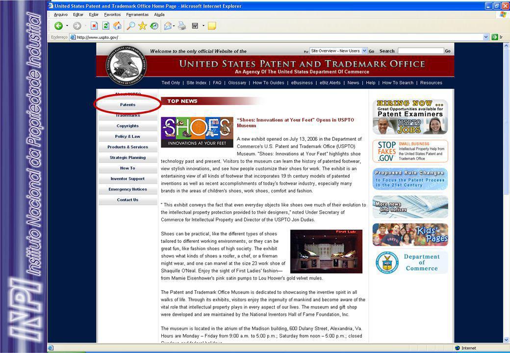 Busca de Patentes Outras ferramentas usadas em estudos de prospecção tecnológica, no tratamento de informações extraídas de documentos de patente: Matheo Analyzer - http://www.matheo-software.com VantagePoint - http://thevantagepoint.com PatentLab II - http://www.delphion.com Aureka - http://www.micropat.com Focust v1.2 – http://www.wisdomain.com/overview.htm
