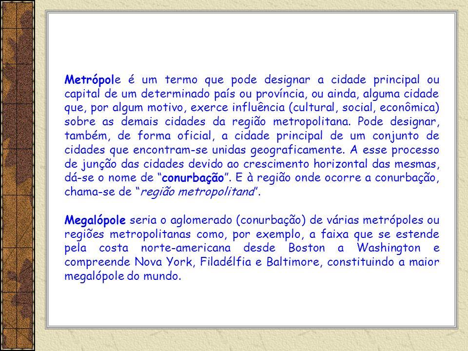 Metrópole é um termo que pode designar a cidade principal ou capital de um determinado país ou província, ou ainda, alguma cidade que, por algum motiv
