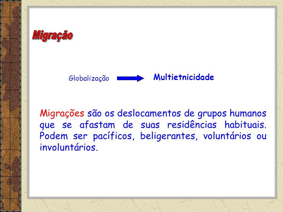 Globalização Multietnicidade Migrações são os deslocamentos de grupos humanos que se afastam de suas residências habituais. Podem ser pacíficos, belig